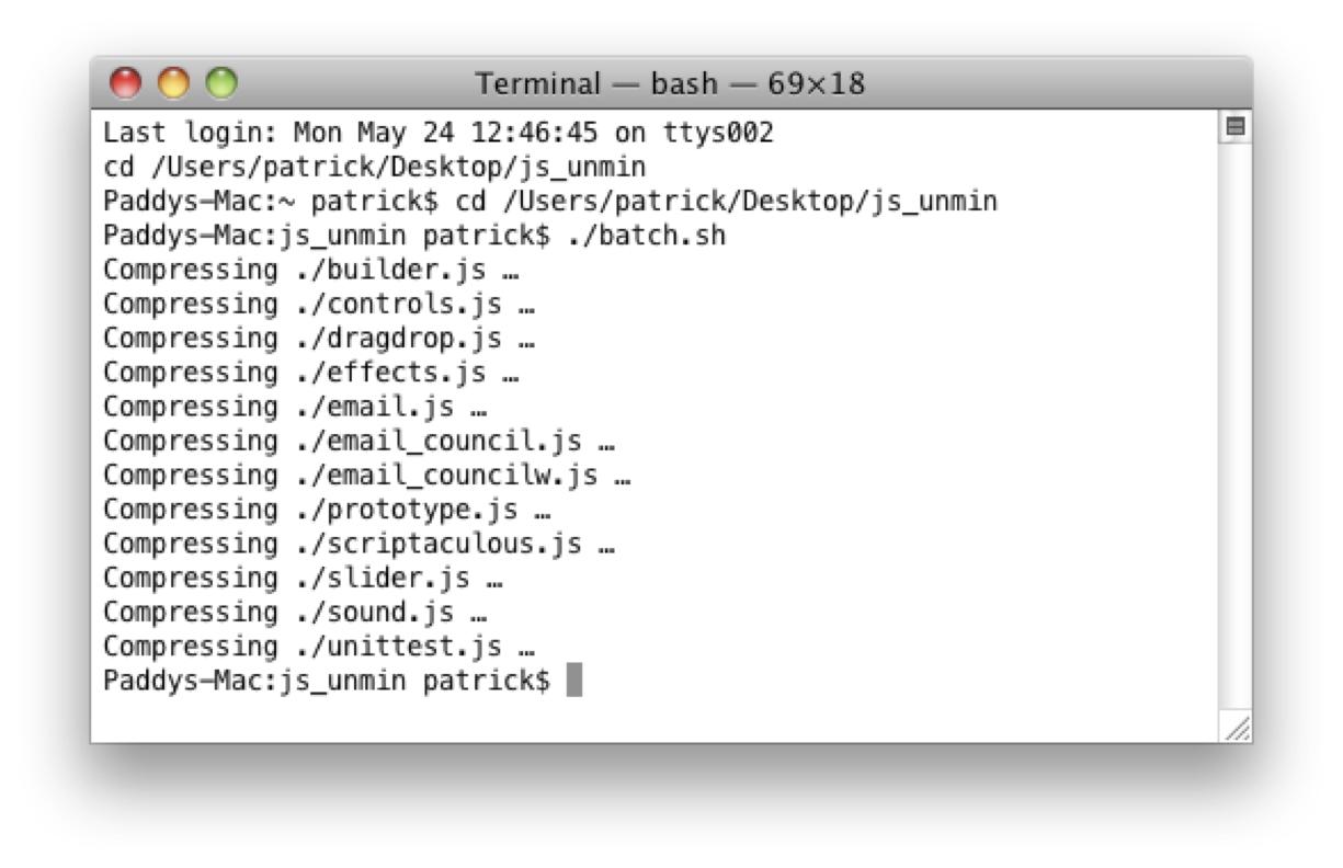 YUI Compressor compressing javascript files in a folder